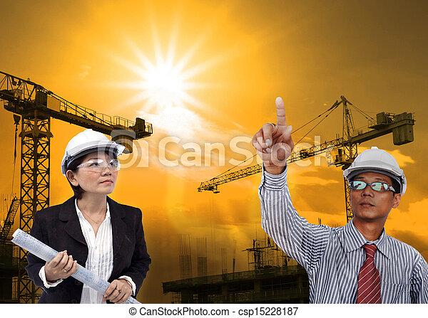 engineering man working in construction site - csp15228187