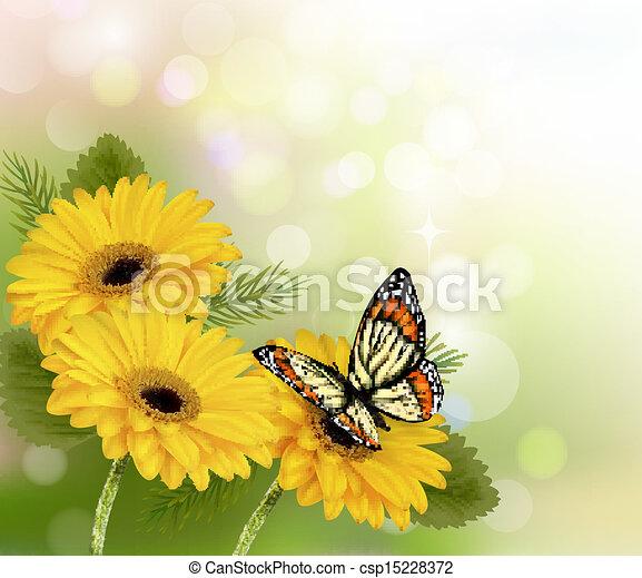 vektor natur hintergrund gelber sch ne blumen papillon vektor abbildung stock. Black Bedroom Furniture Sets. Home Design Ideas