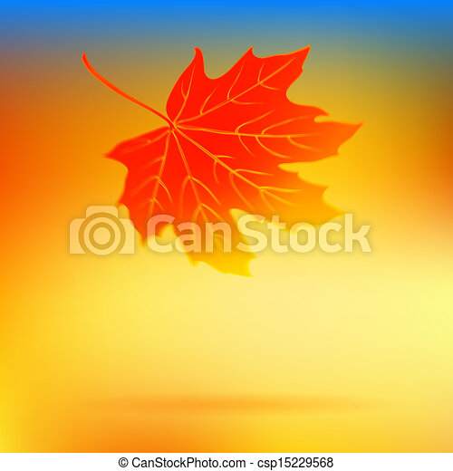 Autumn card with falling leaf and soft lights - csp15229568