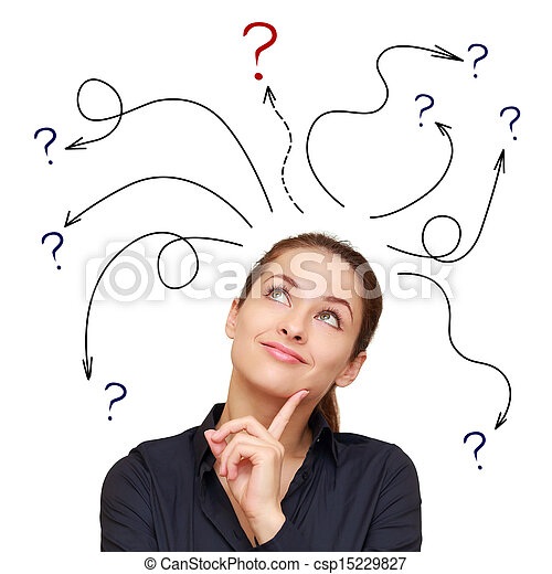femme, au-dessus,  Business,  questions, flèches, isolé, signe, fond, blanc - csp15229827