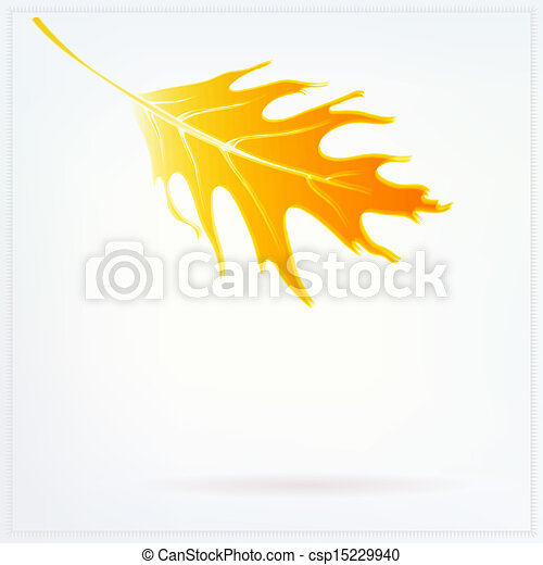 Autumn card with falling leaf and soft white lights - csp15229940