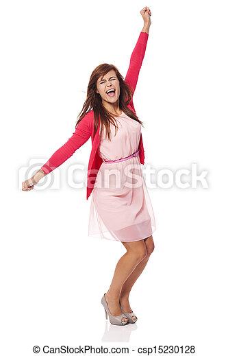 Young beautiful woman screaming of joy - csp15230128