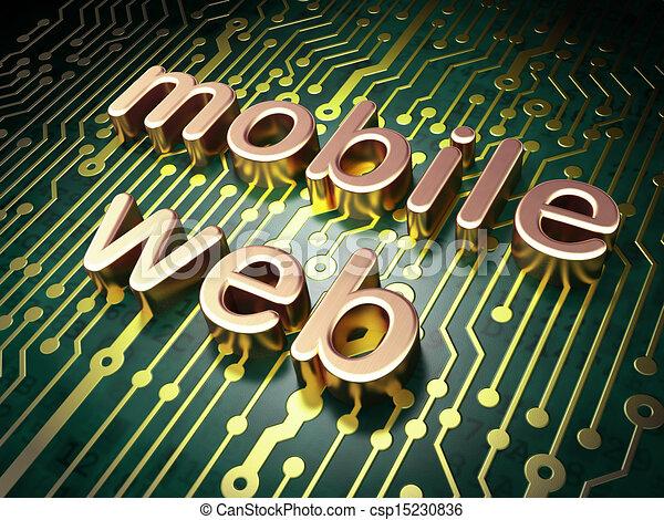 SEO web design concept: Mobile Web on circuit board background - csp15230836