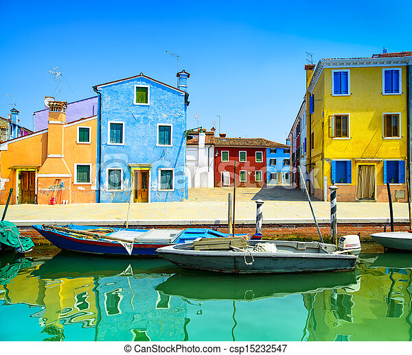 Venice landmark, Burano island canal, colorful houses and boats, Italy - csp15232547