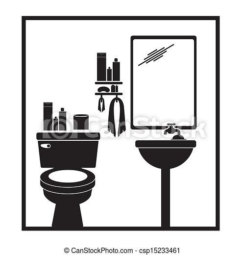 clip art vector van badkamer pictogram op witte achtergrond vector csp15233461 zoek. Black Bedroom Furniture Sets. Home Design Ideas