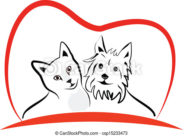 Cat and dog love heart logo - csp15233473
