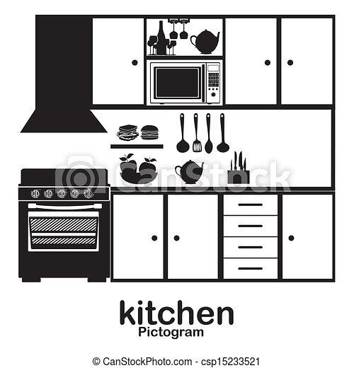 vektor illustration von kueche piktogramm aus wei es hintergrund vektor csp15233521. Black Bedroom Furniture Sets. Home Design Ideas