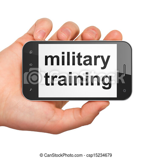Education concept: Military Training on smartphone - csp15234679