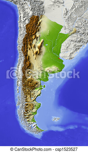 Argentina, shaded relief map - csp1523527