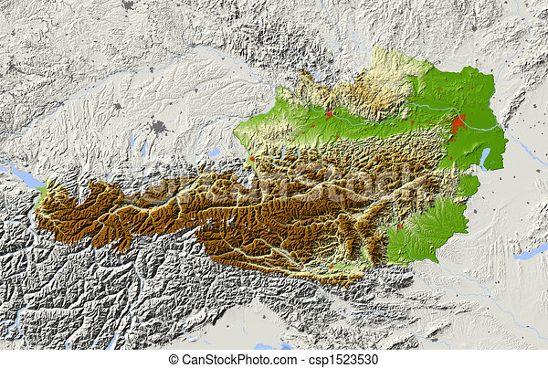 Illustration of austria shaded relief map austria shaded relief