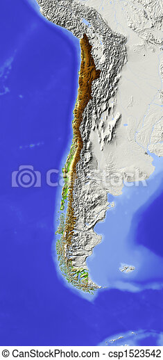 Chile, shaded relief map - csp1523542