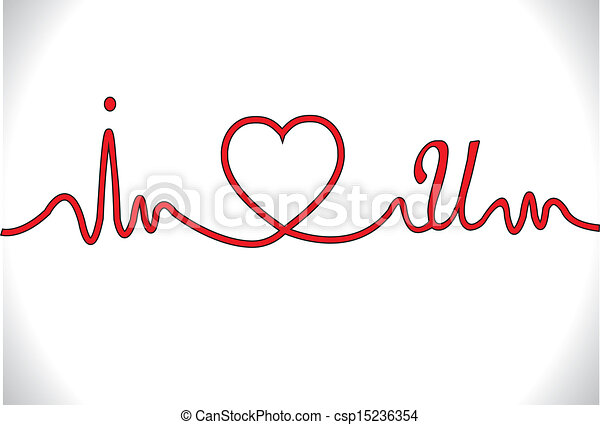 clipart vector of i love you heart beat ecg   i love you