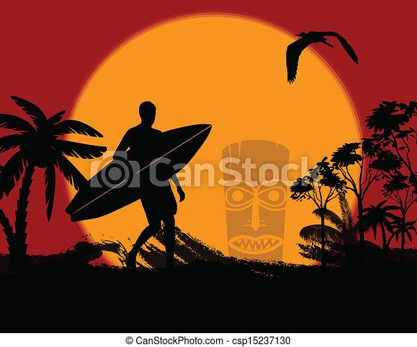 surfing sunset silhouette
