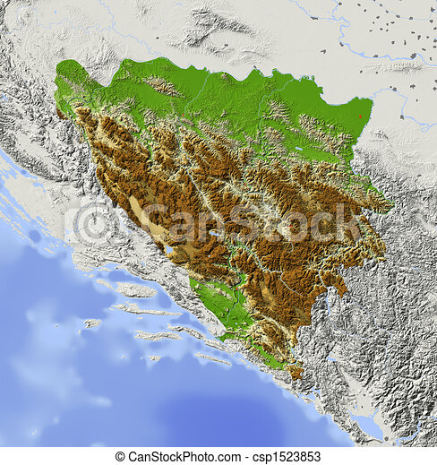 Bosnia and Herzegovina, shaded relief map - csp1523853