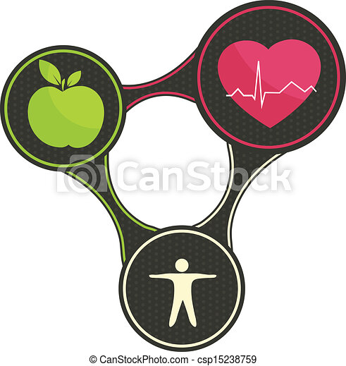 Clipart Vector of Health triangle. Healthy heart, healthy food and ...