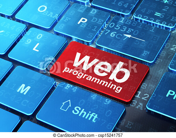 Web development concept: computer keyboard with word Web Programming on enter button background, 3d render - csp15241757
