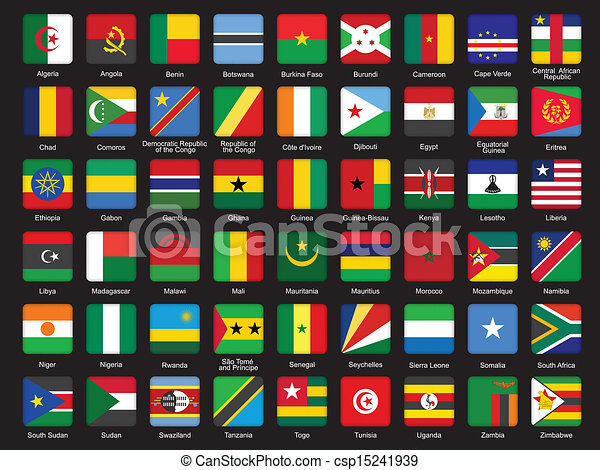 Vectors Of Set Of African Flags Icons Over Black