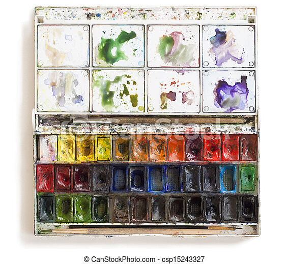 watercolor set tools with brushes - csp15243327