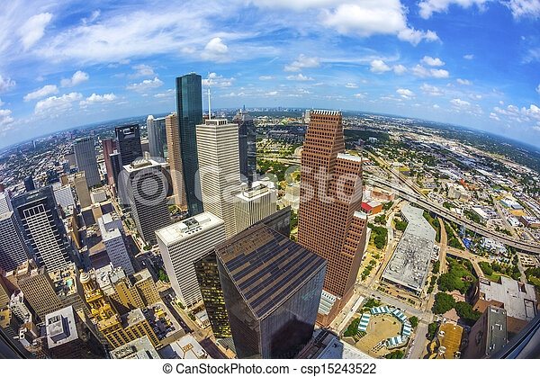 aerial of modern buildings in downtown Houston - csp15243522