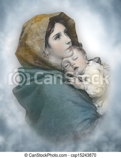 Stock illustrations of madonna and child nativity the - Child jesus images download ...