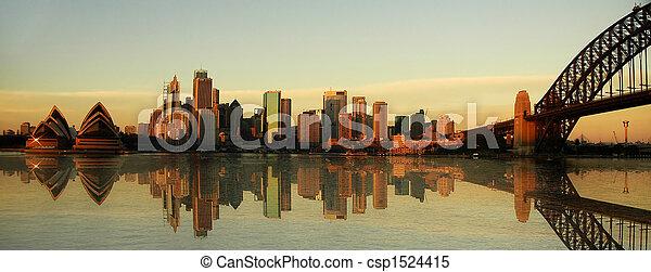 sydney landmarks panorama - csp1524415