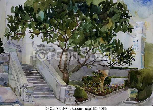 Stock Illustration of great magnolia tree and a stairs with ...
