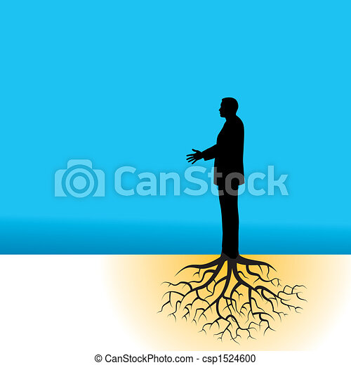 businessman with tree roots - csp1524600