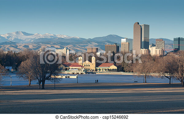 Downtown Denver Winter Skyline From City Park - csp15246692