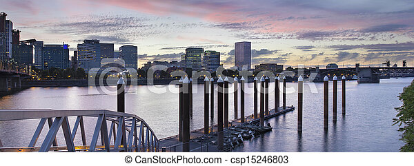 Portland Skyline by the Boat Dock at Sunset - csp15246803