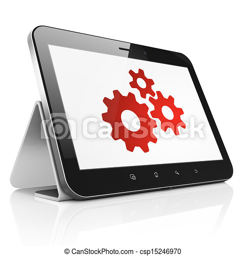 Data concept: Gears on tablet pc computer - csp15246970