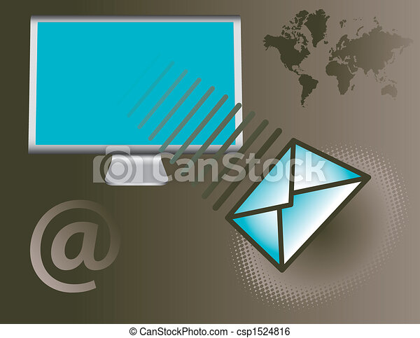 Computer monitor with email - csp1524816