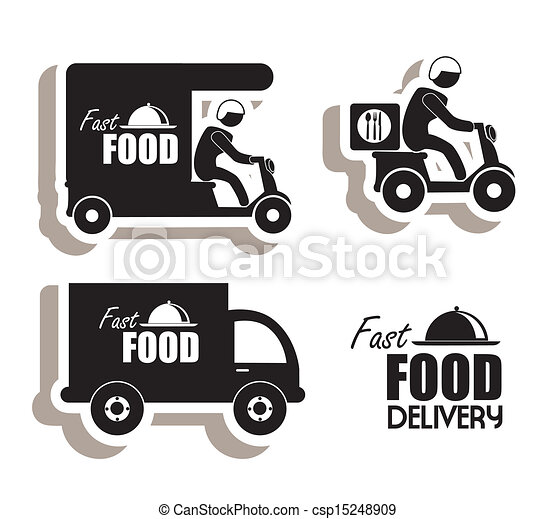 Vector Clipart Of Delivery Food Over White Background