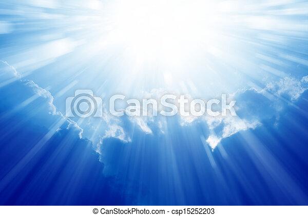 藍色, 明亮的天空, 太陽 - csp15252203