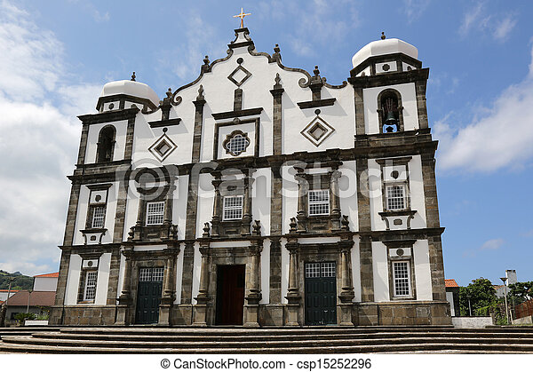 Church on the island of Flores Azores Portugal - csp15252296