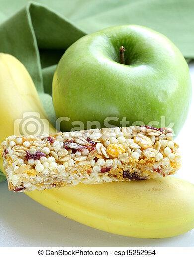 Stock Images of granola bar, green apple and banana - healthy ...