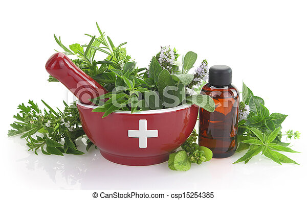 Mortar with medicine cross, fresh herbs and essential oil bottle - csp15254385