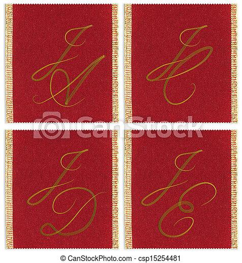Collection of textile monograms design on a ribbon. JA; JC; JD; JE