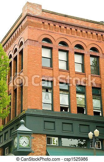 Old Brick Building with Green - csp1525986
