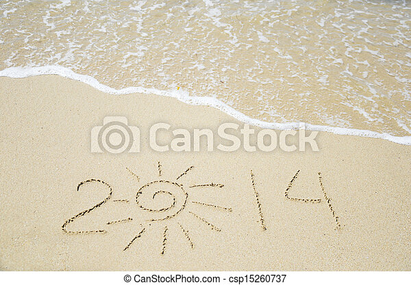 Number 2014 on the sand - holiday concept - csp15260737