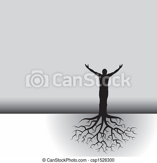 man with tree roots - csp1526300