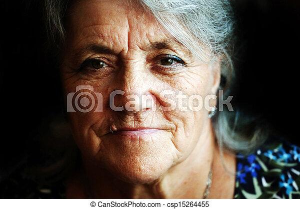 A portrait of a sad granny - csp15264455