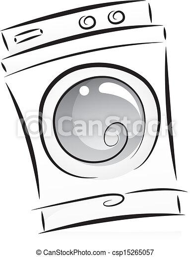Vecteur clipart de machine noir blanc lavage illustration de washing csp15265057 - Logo lessive machine a laver ...