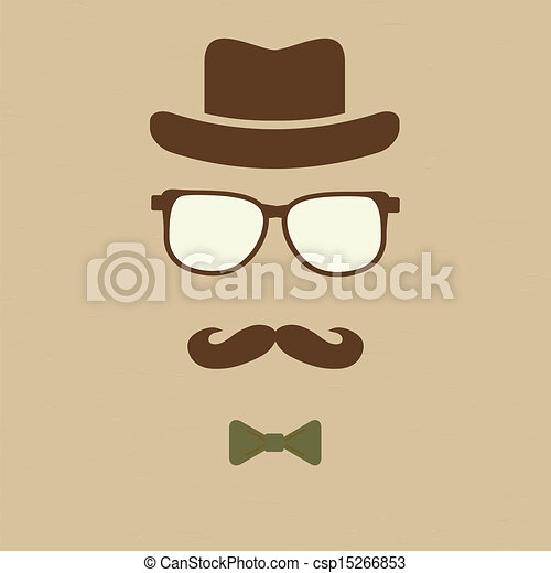 Clipart Vector of Hipster's hat, glasses, moustache ...