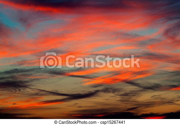 Sky background on sunrise. Nature composition. - csp15267441