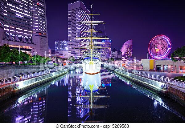 Images de japon yokohama nuit yokohama japon horizon - Table de nuit japonaise ...