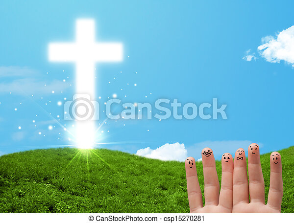 Happy finger smileys with christian religion cross - csp15270281
