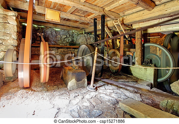 Interior of historic watermill - csp15271886