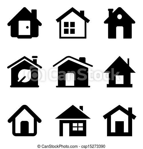 vecteurs eps de maison noir ic nes noir maison ic nes isol sur csp15273390. Black Bedroom Furniture Sets. Home Design Ideas