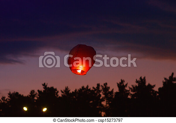 Sky Chinese Lantern with fire flying Holiday Tradition - csp15273797