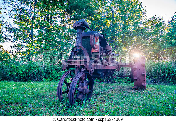 old rusty agriculture farm tractor - csp15274009